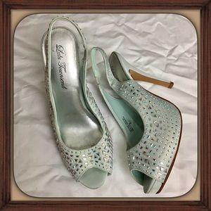 LuLu Townsend Blueish Silver With Rhinestone Heels